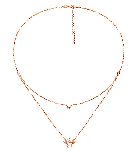 FOLLI FOLLIE Fashionably rose gold-plated star necklace (Rose+gold