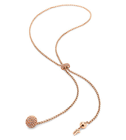 FOLLI FOLLIE Bling Chic Lariat rose gold-plated necklace (Rose+gold