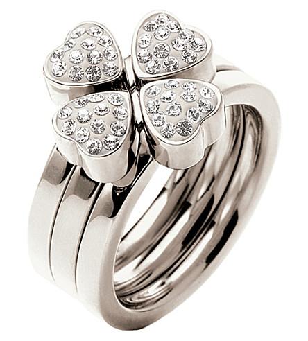 FOLLI FOLLIE Heart4heart multiwear crystal ring (Silver