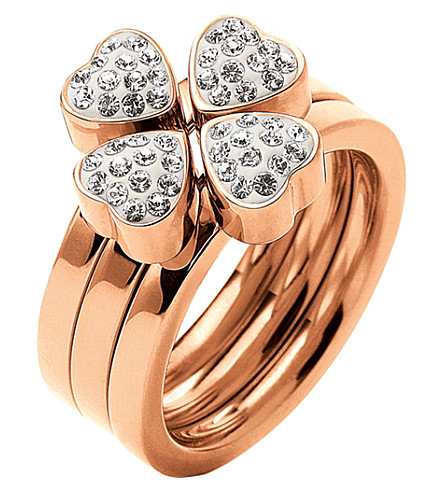 FOLLI FOLLIE Heart4heart Sweetheart multiwear rose gold-plated crystal ring (Rose+gold
