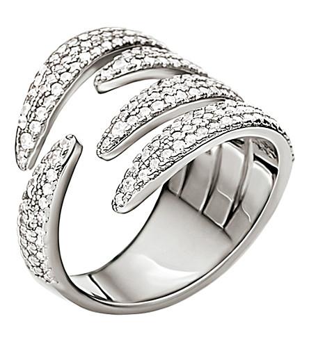 FOLLI FOLLIE Fashionably sterling silver crystal knots ring (Silver