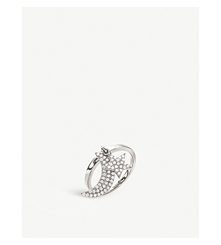 FOLLI FOLLIE Charm Mates sterling silver moon and star ring