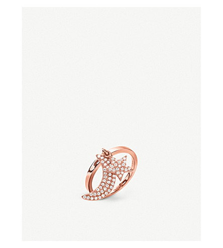 FOLLI FOLLIE Charm Mates rose gold-plated moon and star ring