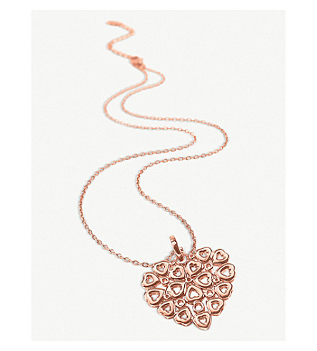 FOLLI FOLLIE Fashionably Silver Stories rose-gold plated silver small necklace (Rose+gold