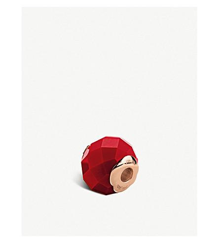 FOLLI FOLLIE玫瑰镀金玻璃方形珠 (红色
