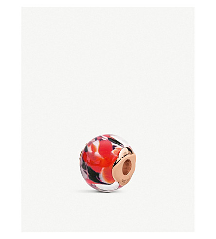 FOLLI FOLLIE叛军海滨玫瑰镀金玻璃珠 (红色