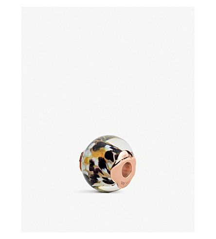 FOLLI FOLLIE Playful Emotions Rebel Riviera rose-gold plated glass charm (Black