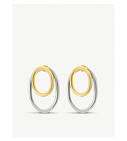FOLLI FOLLIE Metal Chic yellow gold-plated and gunmetal earrings
