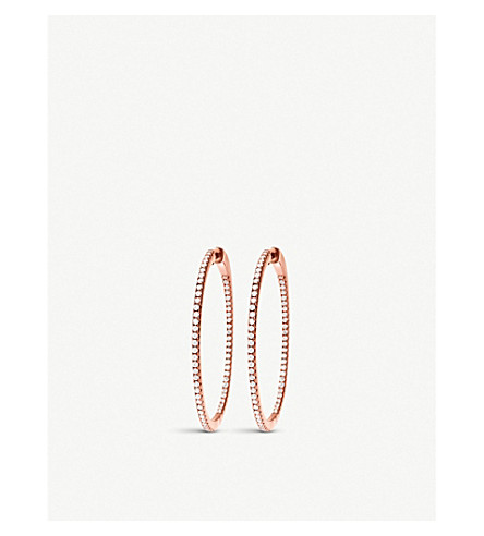 FOLLI FOLLIE Fashionably Silver Essentials rose gold small hoop earrings (Rose+gold