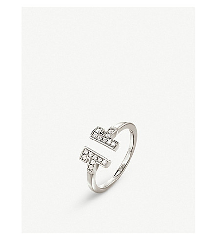FOLLI FOLLIE My FF sterling silver and cubic zirconia open ring