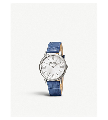 FOLLI FOLLIE WF15T033SPW-COLORBL Match Point stainless steel and leather watch (Blue