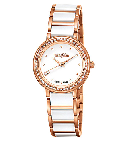 FOLLI FOLLIE Checkmate Mini ceramic and rose-gold plated stainless steel watch (Ceramic