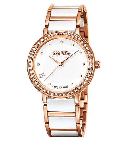 FOLLI FOLLIE Checkmate ceramic and rose-gold plated stainless steel watch (Ceramic