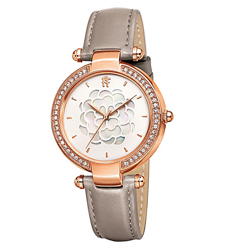 FOLLI FOLLIE Santorini Flower mother-of-pearl and leather watch (Rose+gold