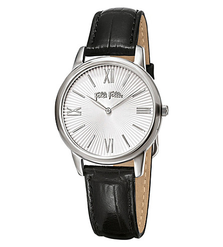 FOLLI FOLLIE Match Point Small stainless steel and leather watch (Silver