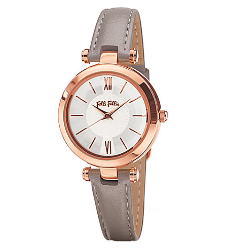 FOLLI FOLLIE Lady Bubble Mini rose gold-plated stainless steel leather mini watch (Rose+gold