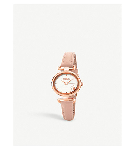 FOLLI FOLLIE Miss Heart4Heart rose-gold plated and leather strap watch
