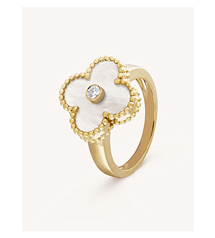 VAN CLEEF & ARPELS Vintage Alhambra yellow-gold, diamond and mother-of-pearl ring (Yellow+gold