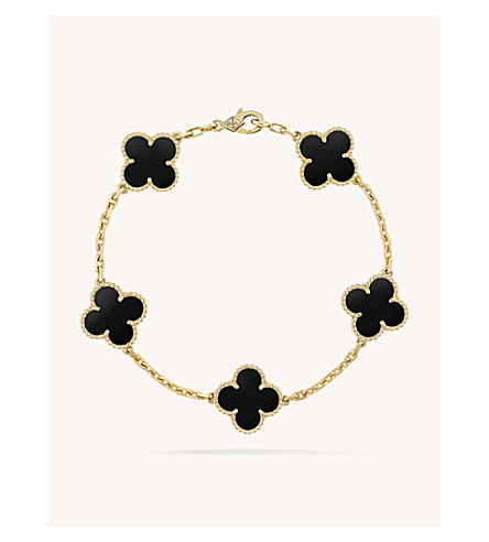 VAN CLEEF & ARPELS Vintage Alhambra gold and onyx bracelet (Yellow+gold
