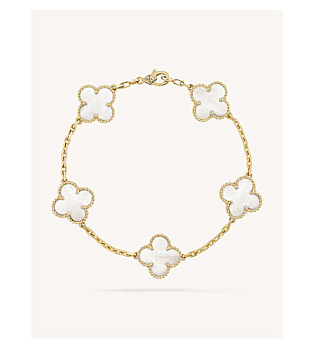 VAN CLEEF & ARPELS Vintage Alhambra gold and mother-of-pearl bracelet (Yellow+gold
