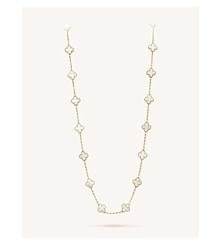 VAN CLEEF & ARPELS Vintage Alhambra gold and mother-of-pearl necklace (Yellow+gold