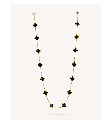 VAN CLEEF & ARPELS Vintage Alhambra gold and onyx necklace (Yellow+gold