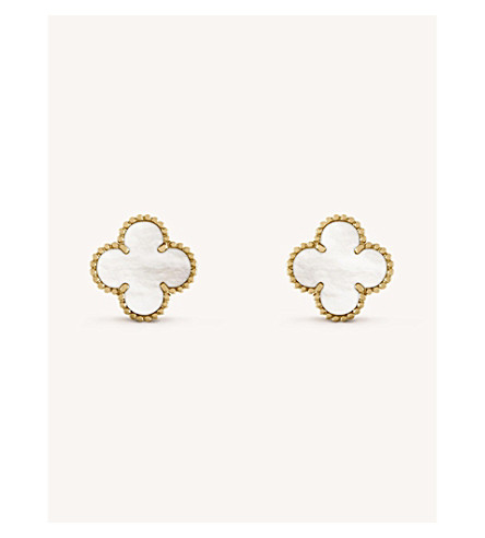 VAN CLEEF & ARPELS Vintage Alhambra gold and mother-of-pearl earrings (Yellow+gold