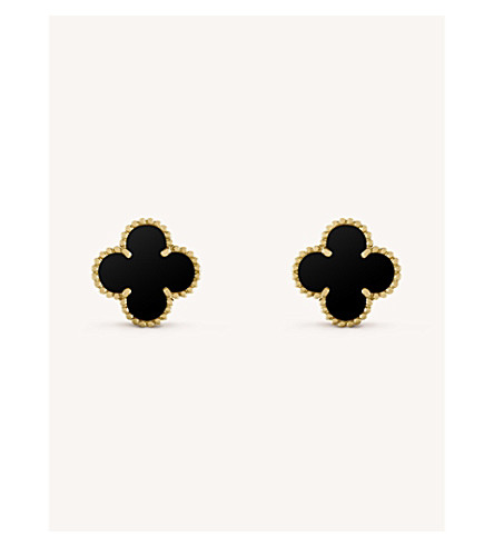 VAN CLEEF & ARPELS Vintage Alhambra gold and onyx earrings (Yellow+gold