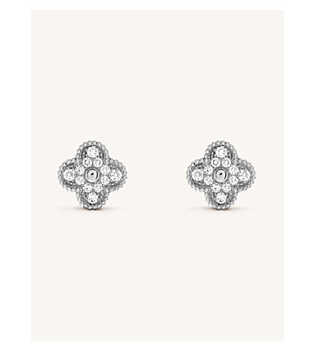 VAN CLEEF & ARPELS Sweet Alhambra white-gold and diamond stud earrings (White+gold