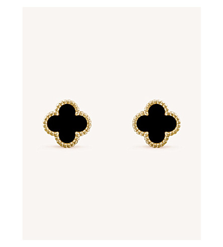 VAN CLEEF & ARPELS Sweet Alhambra yellow-gold and onyx earrings (Yellow+gold