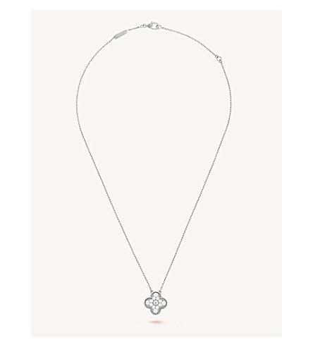 VAN CLEEF & ARPELS Vintage Alhambra gold and diamond pendant (White+gold