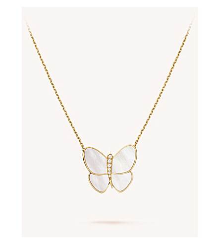 VAN CLEEF & ARPELS Butterfly gold, mother-of-pearl and diamond pendant (Yellow+gold