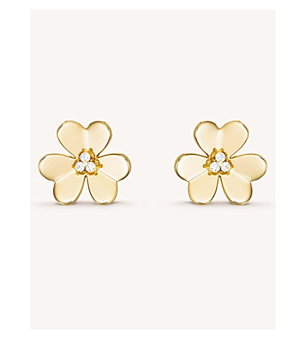 VAN CLEEF & ARPELS Frivole gold and diamond large earrings (Yellow+gold
