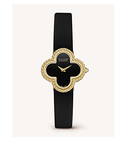 VAN CLEEF & ARPELS Vintage Alhambra gold and onyx watch (Yellow+gold