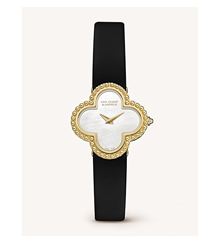 VAN CLEEF & ARPELS Vintage Alhambra gold and mother-of-pearl watch (Yellow+gold
