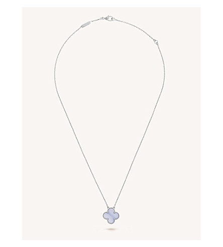 VAN CLEEF & ARPELS Vintage Alhambra gold and chalcedony pendant (White+gold