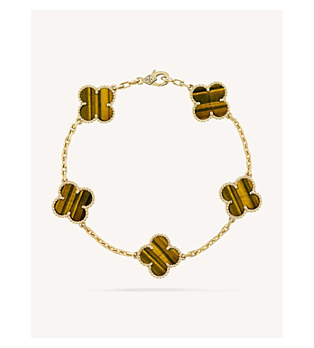 VAN CLEEF & ARPELS Vintage Alhambra gold and tiger's eye bracelet (Yellow+gold