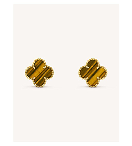 VAN CLEEF & ARPELS Vintage Alhambra gold and tiger's eye earrings (Yellow+gold