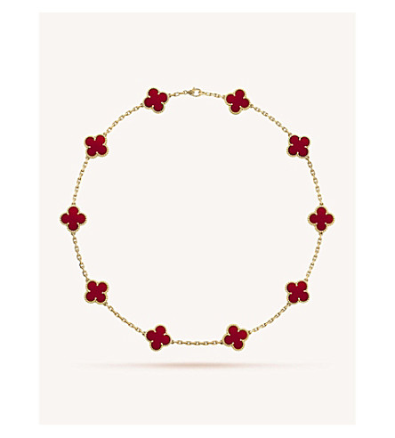 VAN CLEEF & ARPELS Vintage Alhambra gold and carnelian necklace (Yellow+gold