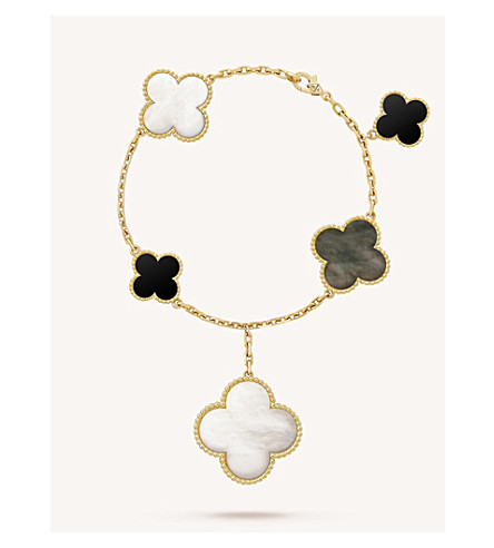 VAN CLEEF & ARPELS Magic Alhambra gold, mother-of-pearl and onyx bracelet (Yellow+gold