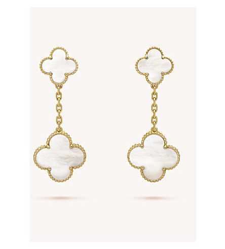 VAN CLEEF & ARPELS Magic Alhambra gold and mother-of-pearl earrings (Yellow+gold