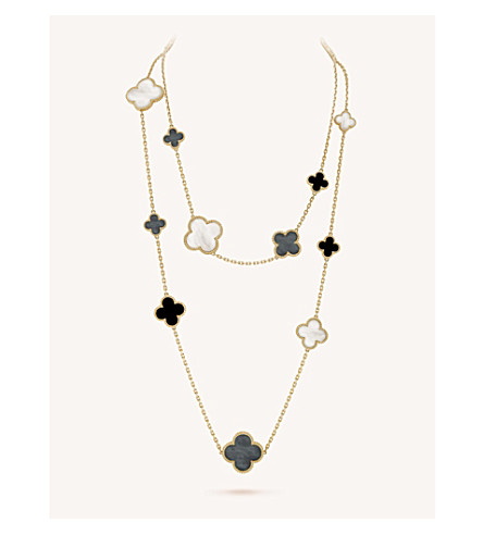 VAN CLEEF & ARPELS Magic Alhambra gold, onyx and mother-of-pearl necklace (Yellow+gold
