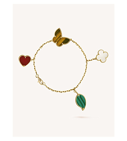 VAN CLEEF & ARPELS Lucky Alhambra gold, carnelian, malachite, mother-of-pearl and tiger's eye bracelet (Yellow+gold