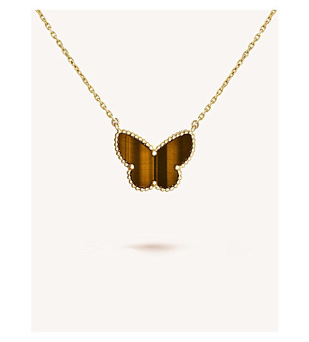 VAN CLEEF & ARPELS Lucky Alhambra gold and tiger's eye pendant (Yellow+gold