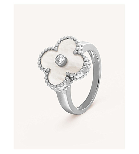 VAN CLEEF & ARPELS Vintage Alhambra white-gold, diamond and mother-of-pearl ring (White+gold