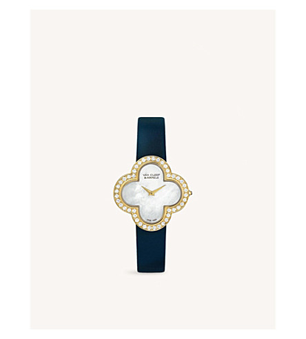 VAN CLEEF & ARPELS Alhambra Sertie gold, satin and diamond watch (Yellow+gold