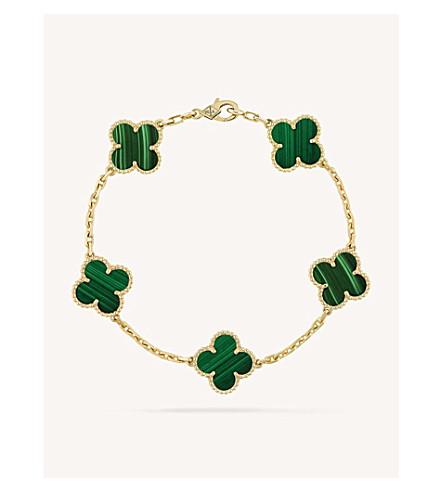 VAN CLEEF & ARPELS Vintage Alhambra gold and malachite bracelet (Yellow+gold