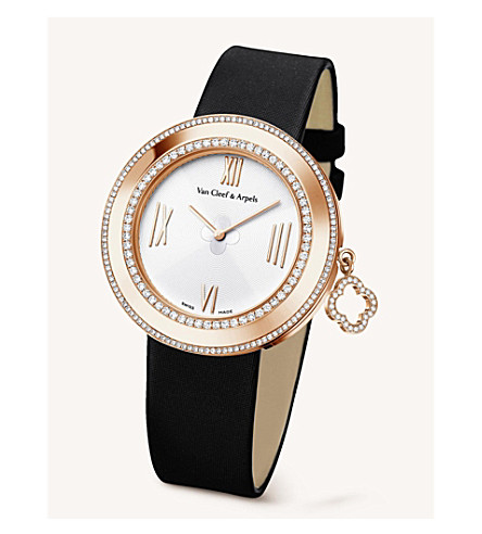 VAN CLEEF & ARPELS Charms gold, diamond and satin watch (Pink+gold