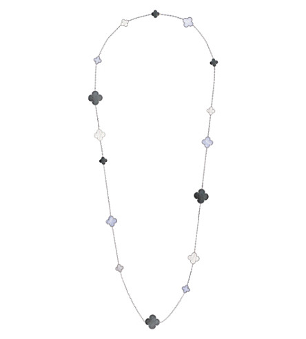 VAN CLEEF & ARPELS Magic Alhambra 18ct white-gold, chalcedony and mother-of-pearl necklace