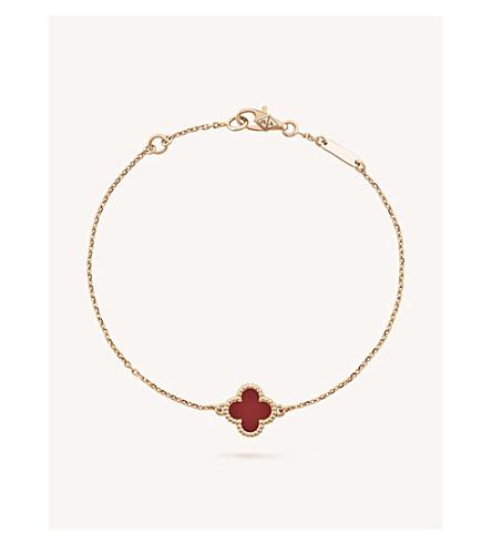 VAN CLEEF & ARPELS Sweet Alhambra gold and carnelian bracelet (Pink+gold